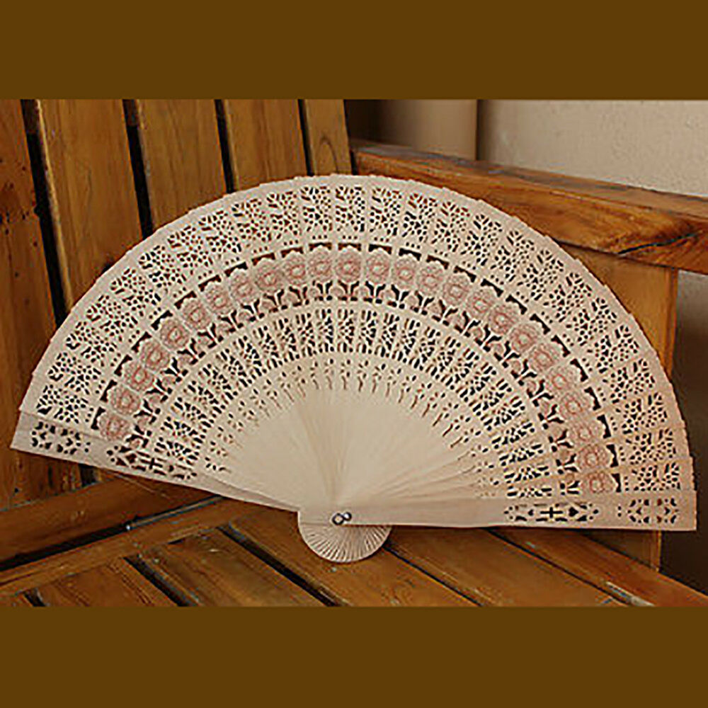 Wedding Hand Fragrant Party Carved Bamboo Folding Fan Chinese Wooden Fan  Gn
