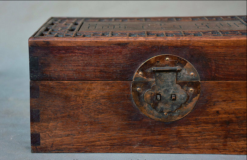 """11.2"""" Antique Old Chinese Dynasty Palace Huanghuali Wood Storage Box Jewelry box 2"""