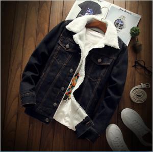 Fashion Men's Fleece Lined Winter Warm Coat Trucker Denim/Jean Fur Collar Jacket 4