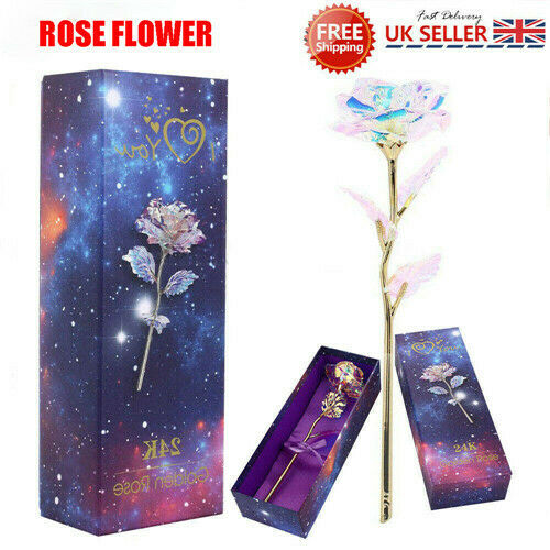 3D Crystal Rose Wife Love Present Birthday Valentine Mothers Day Gift Decor UK 2