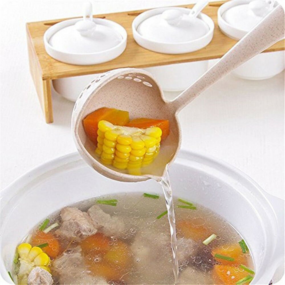 Home 2 in 1 Colander Strainer Colander Hot Pot Spoon Soup Ladle Cooking Tools