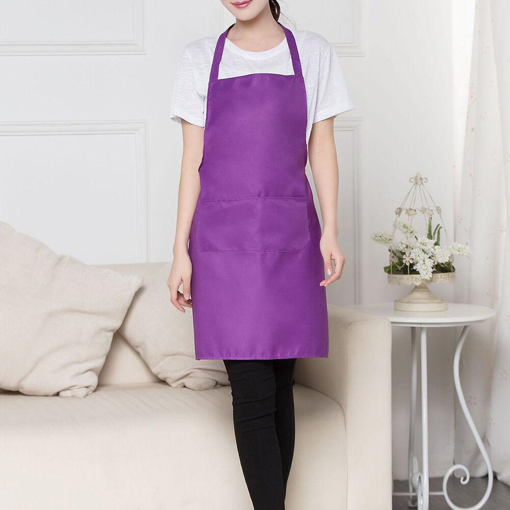 Cn _ Unisex Liso de Cocina Catering Trabajo Delantal con Doble Bolsillo 7