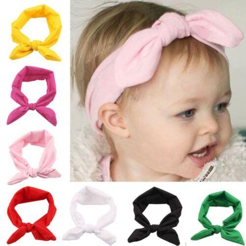 Girls Baby Bunny Bow Hairband Headband Stretch Turban Knot Head Wrap For Kids 7