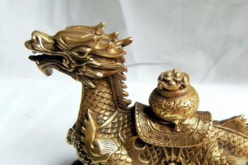 Old Chinese brass hand-carved Dragon Cornucopia statue 3