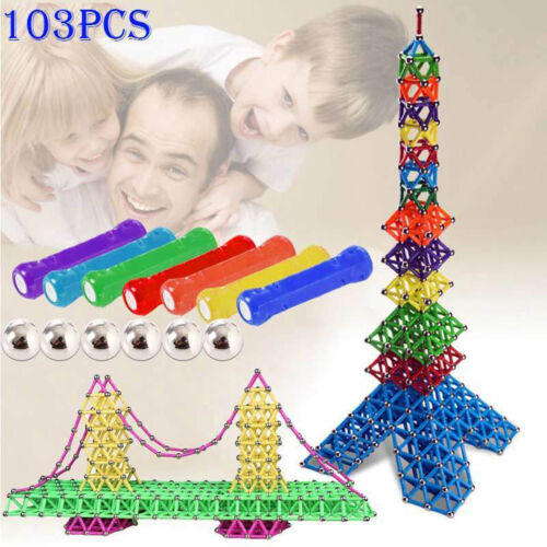 103Pcs Educational Magnetic Construction Sticks Building Blocks Toy Set Kid Gift 4