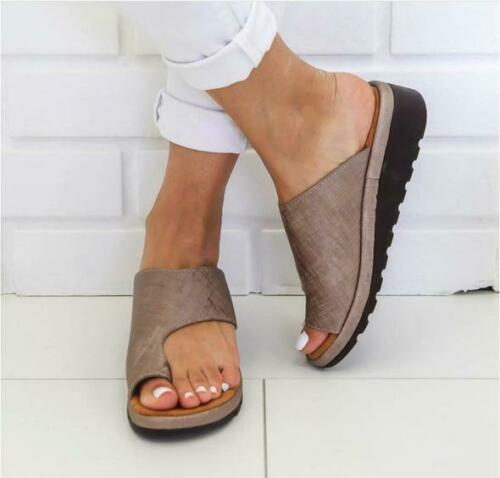 Womens Comfy Flat shoes Sandals Shoes Slipper - PU LEATHER - Bunion Corrector 8