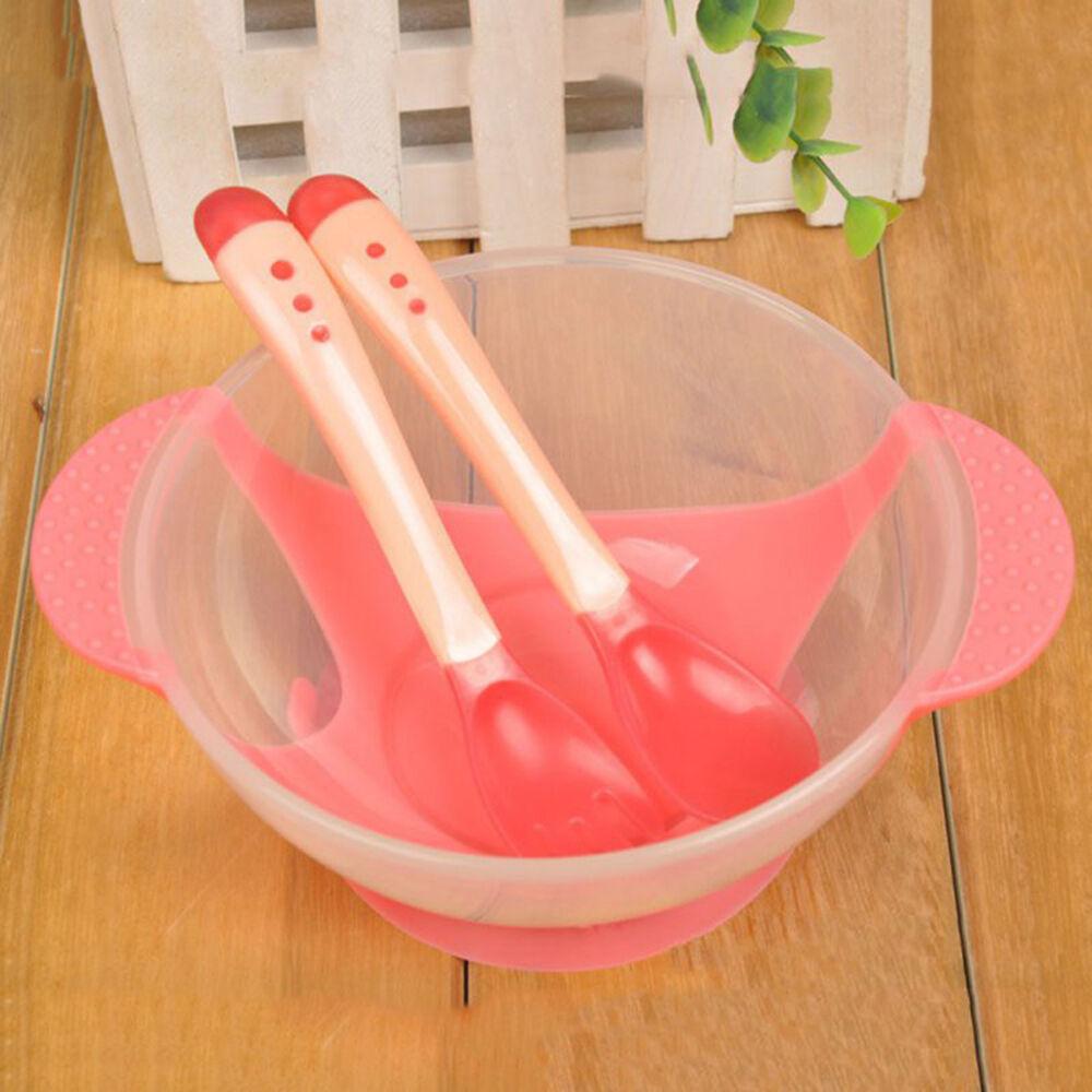 Ciotola per la pappa con forchetta e cucchiaio di rilevamento della temperatura ventosa ciotola tavola antiscivolo Red