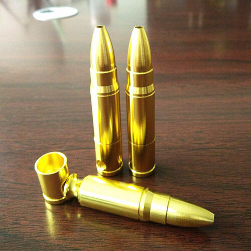 Unique Cool Bullet Shape Pipe Golden Mini Pipes Chinese Medicine Holder Portable 5