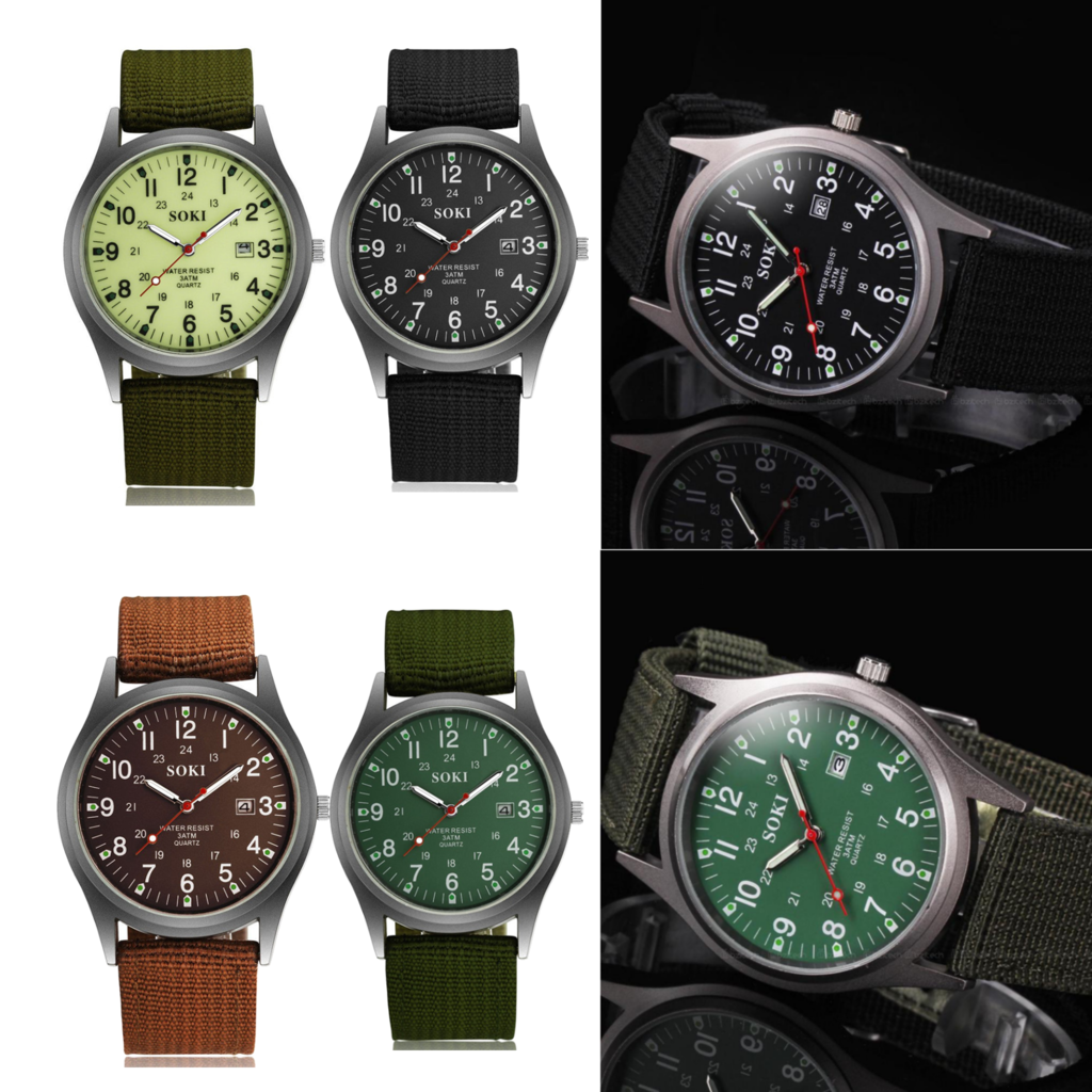 Military Sport Mens Quartz Army Date Analog Luminous Canvas Strap Wrist Watch 3