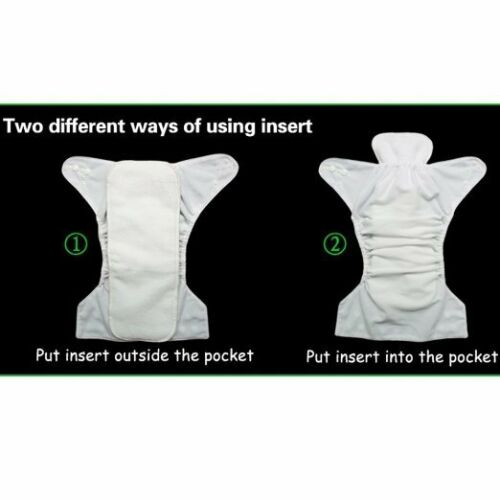 5 Pack Diapers Inserts Adjustable Reusable Baby Washable Cloth Pocket Nappies US 12