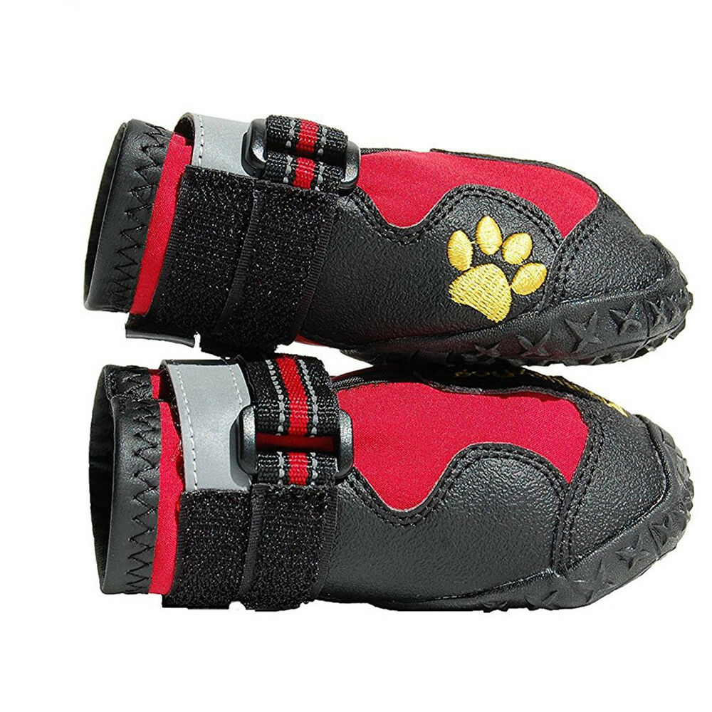 UK_ 4Pcs Waterproof Pet Dog Shoes Anti-Slip Comfortable Reflective Boots Efficie 8