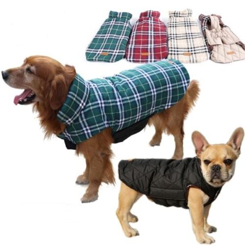 SMALL to EXTRA LARGE dog waterproof warm 2 in 1 coat jacket clothes reversible 2