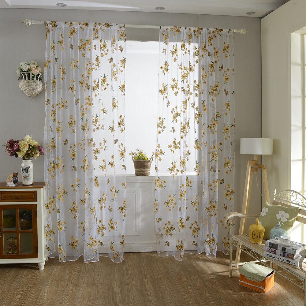 LC_ Fleur Fenêtre TULLE Rideau Transparent Diviseur Chambre à Coucher  Maison 4 4 Sur 12 ...