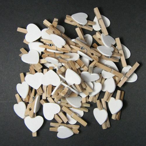 Wo_ 50Pcs Wooden Clips White Heart Mini Pegs Clothespin Diy Cute Wedding Decor C 2