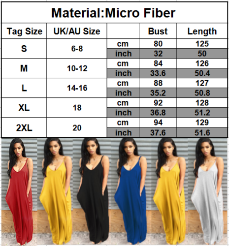 Women Ladies Maxi Dress Long Strappy Backless Loose Summer Beach Baggy Sundress 3