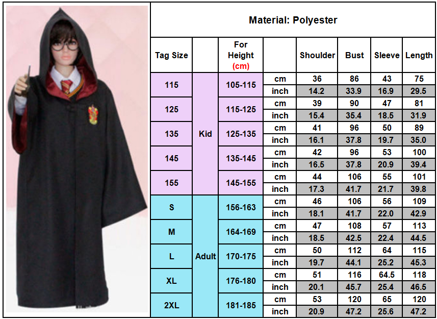 Cosplay robe Harry Potter Cape Gryffondor robe de Costume de Serpentard COS 7