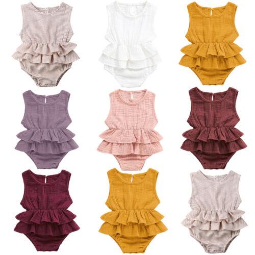 Summer Newborn Baby Girl Ruffle Romper Bodysuit Jumpsuit Sunsuit Outfits Clothes 3