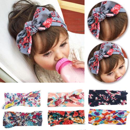 Girls Baby Bunny Bow Hairband Headband Stretch Turban Knot Head Wrap For Kids 4