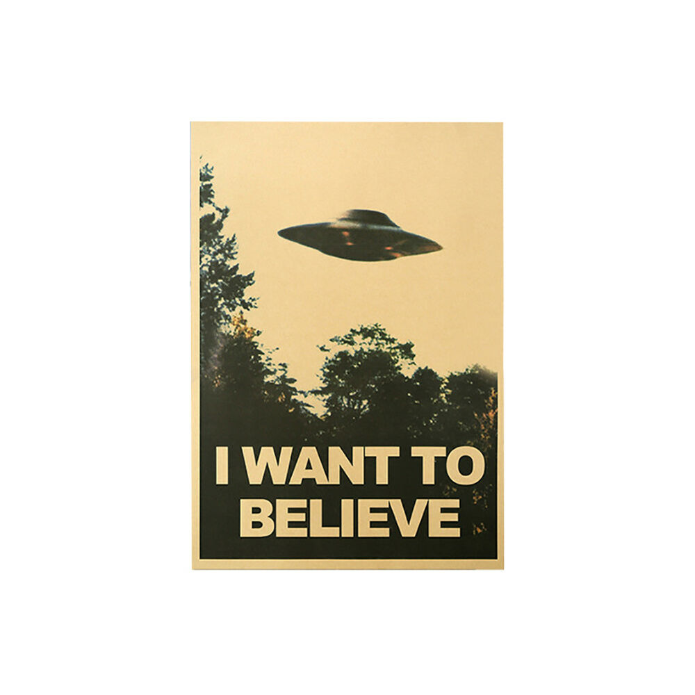 CN_ 50.5x35cm I Want To Believe Vintage UFO Painting Poster Wall Home Decor Ar 7
