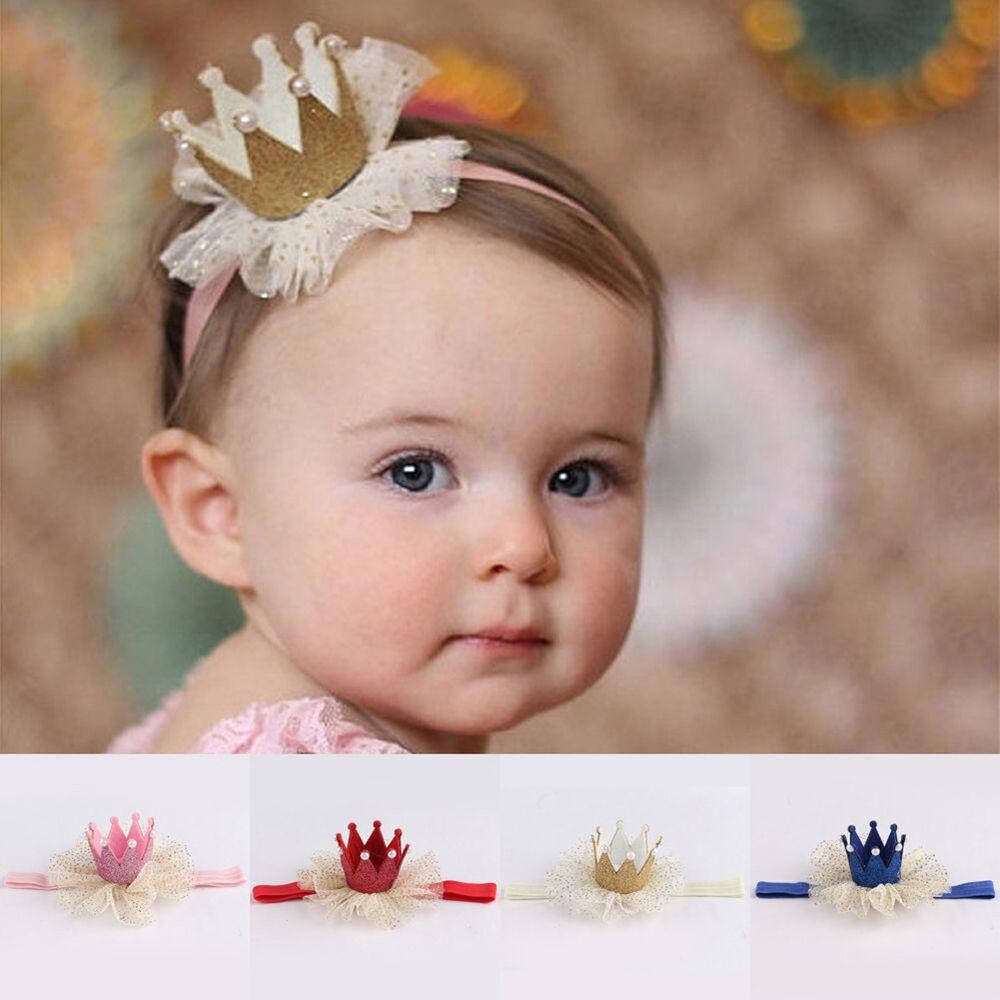 Am_ Kids Baby Girl Toddler Lace Crown Hair Band Headwear Headband Accessories Ni 4
