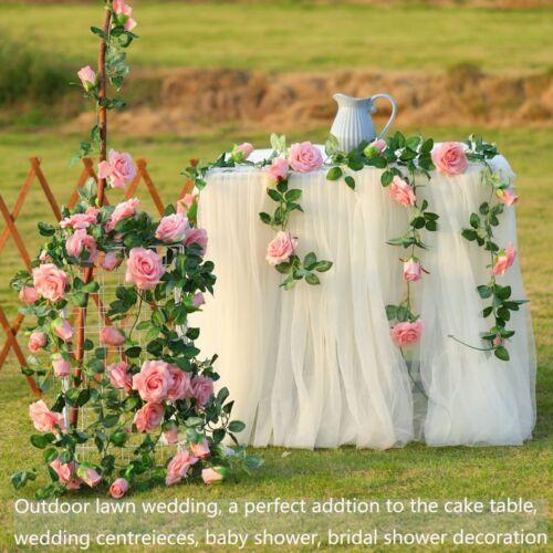 Hanging Artificial Rose Garland Silk Flower Ivy Vine Garland Wedding Home DecoNA 8