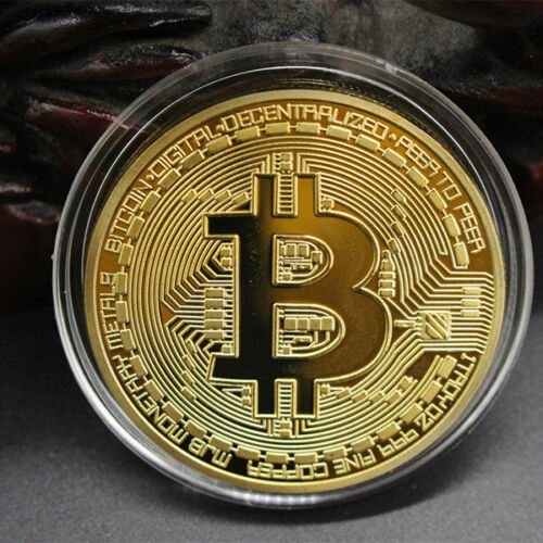 BITCOIN!! Gold Plated Physical Bitcoin in protective acrylic case FAST SHIPPING 4