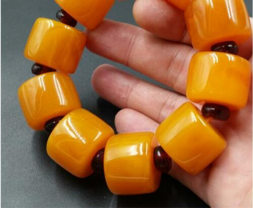 BEAUTIFUL BALTIC AMBER old Beeswax big size Bracelet 5A 5