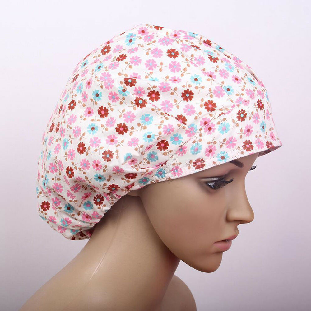 JZ_ Floral Scrub Cap Hospital Medical Surgical Surgery Hat for Doctor Nurses P