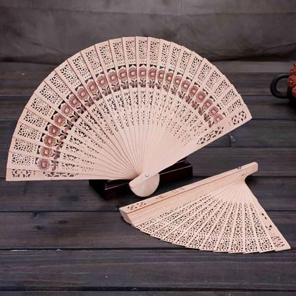 NE_ VINTAGE FOLDING Fan Chinese Traditional Bamboo Wooden Fragrant ...