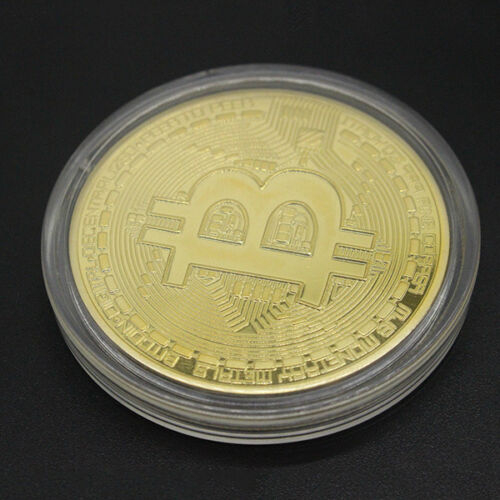 BITCOIN!! Gold Plated Physical Bitcoin in protective acrylic case FAST SHIPPING 5