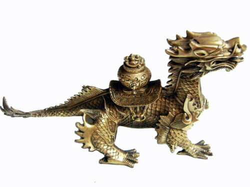 Old Chinese brass hand-carved Dragon Cornucopia statue 2