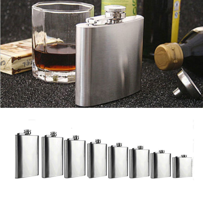 Stainless Steel Hip Liquor Whiskey Alcohol Flask Cap 6 8 18oz Pocket Wine Bottle