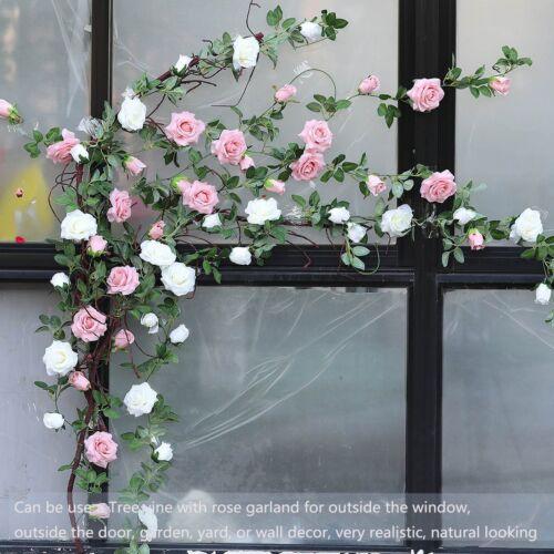 Hanging Artificial Rose Garland Silk Flower Ivy Vine Garland Wedding Home DecoNA 7