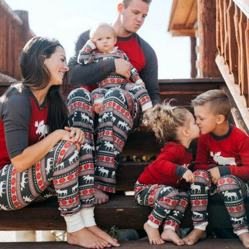 a715404a43 HOT Moose Fairy Christmas Family Pajamas Set Mens Women Kids Sleepwear  Nightwear 4 4 of 10 See More