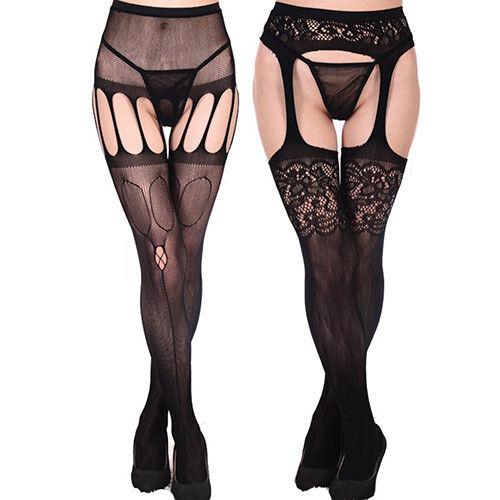 LC  Femme Résille Sexy Porte Jaretelle Hauteur des Cuisses Collant Lacets 4  4 sur 5 ... e92e027a9e2