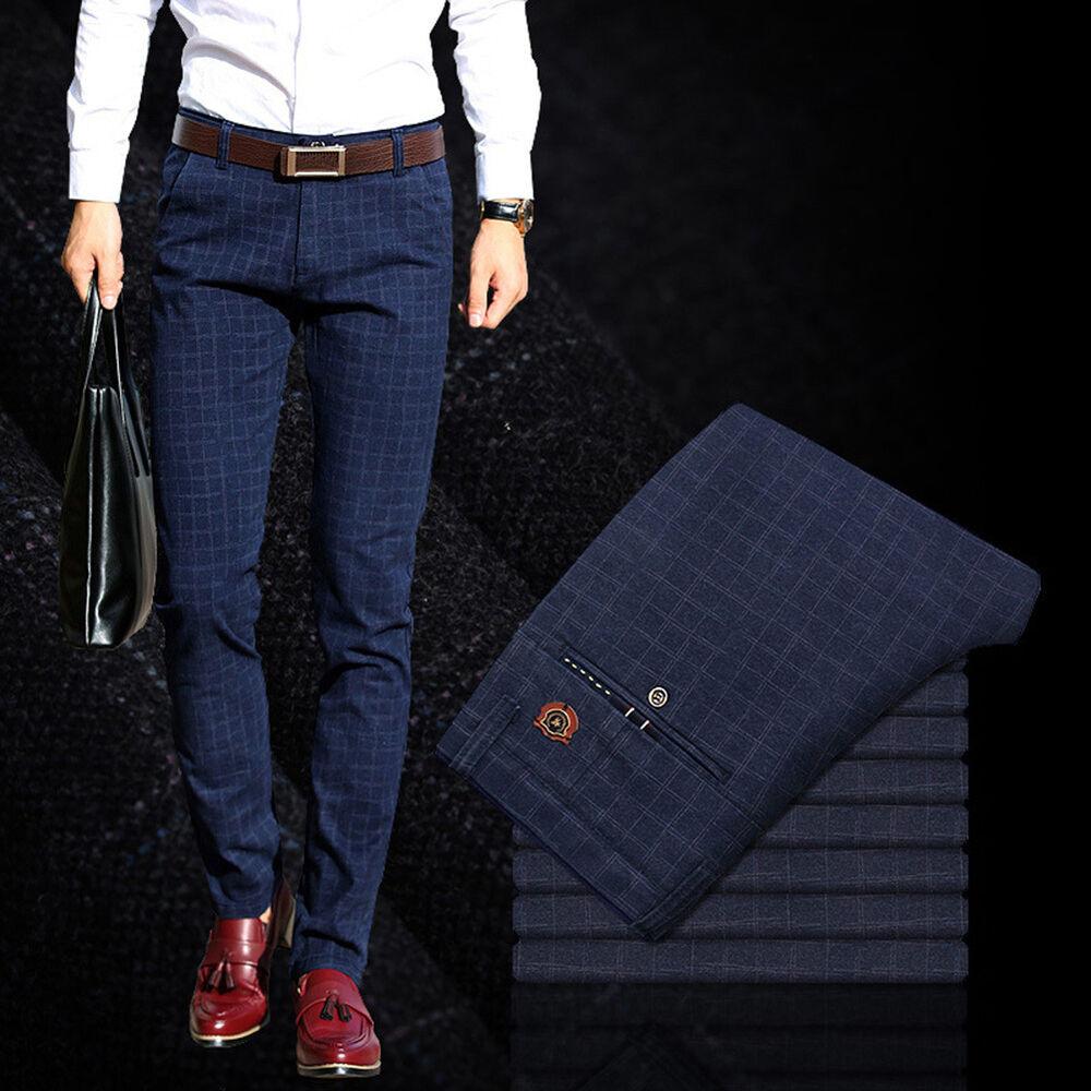 Men/'s Slim Fit Skinny Pencil Pants Plaid Business Dress Casual Trousers Surp HK