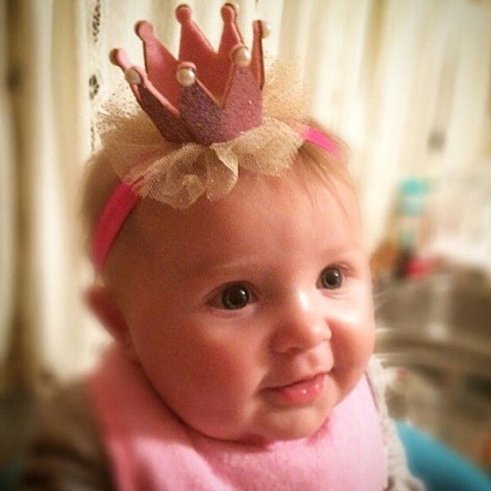 Am_ Kids Baby Girl Toddler Lace Crown Hair Band Headwear Headband Accessories Ni 2