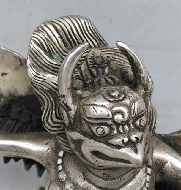 Chinese Old Tibet Tibetan Silver Hand Carved Redpoll Winged Garuda Statue 5