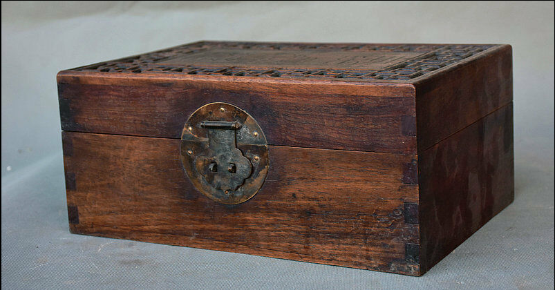 """11.2"""" Antique Old Chinese Dynasty Palace Huanghuali Wood Storage Box Jewelry box 5"""