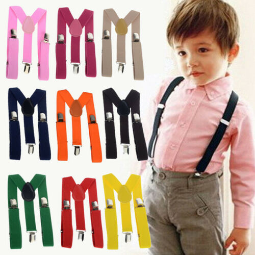 Kids Toddler Clip-on Suspenders Elastic Ribbon Adjustable Braces for Boy Girl