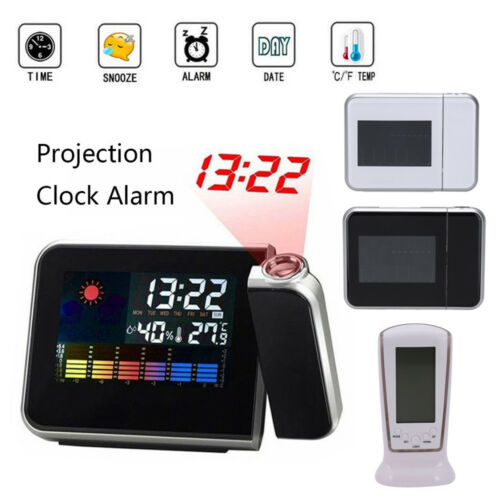 Projection Digital Weather LCD Snooze Alarm Clock Color Display LED Backlight RF 2