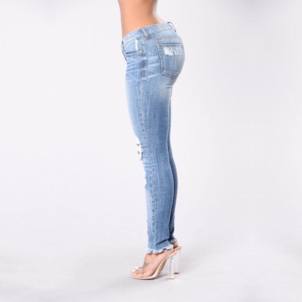 e3ea8f21e1652 LC _ Mode Femme décontracté Jean déchiré élasticité Pantalon extensible  skinny 5 5 sur 11 ...
