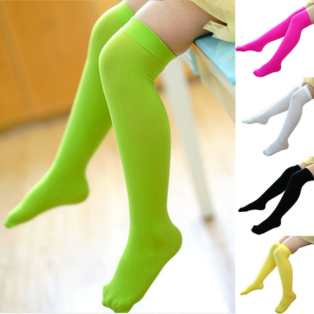 f83a41937 JN  Kids Toddler Girls Solid Over Knee Socks Tights Leg Warmer High  Stockings 3 3 of 11 ...