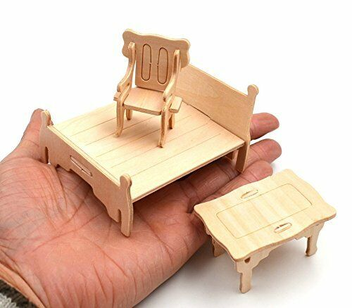 Birthday Gift Wooden Doll House Miniature Family Children Furniture Set Kit Toys 3