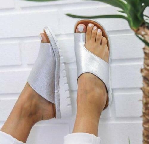 Womens Comfy Flat shoes Sandals Shoes Slipper - PU LEATHER - Bunion Corrector 7