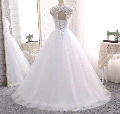 a7bbf37fd23 Blanc Ivoire sans manches A-Line dentelle robe de mariée robe de mariage 2  2 sur 5 ...