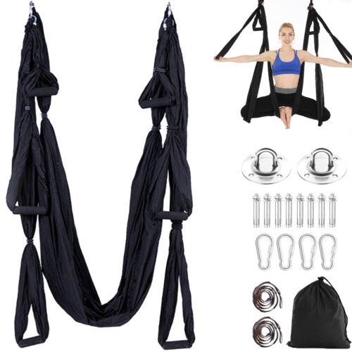 Yoga Swing Full Set Anti-Schwerkraft-Fliegerhängematte+Deckenhalterung+Griff DE