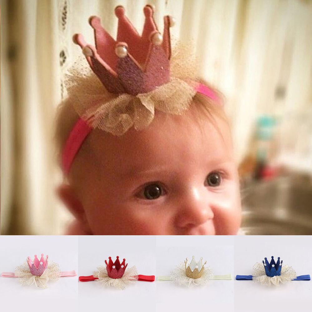 Am_ Kids Baby Girl Toddler Lace Crown Hair Band Headwear Headband Accessories Ni 5