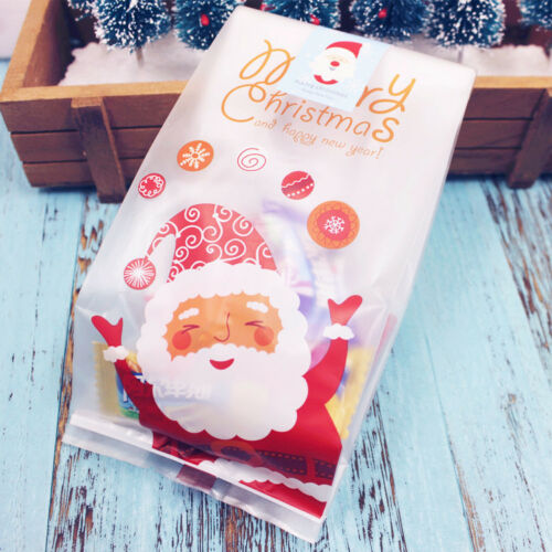 Christmas Cellophane Bags.50 X Christmas Cellophane Bags Party Favour Cookie Sweet Candy Biscuit Gift Bag
