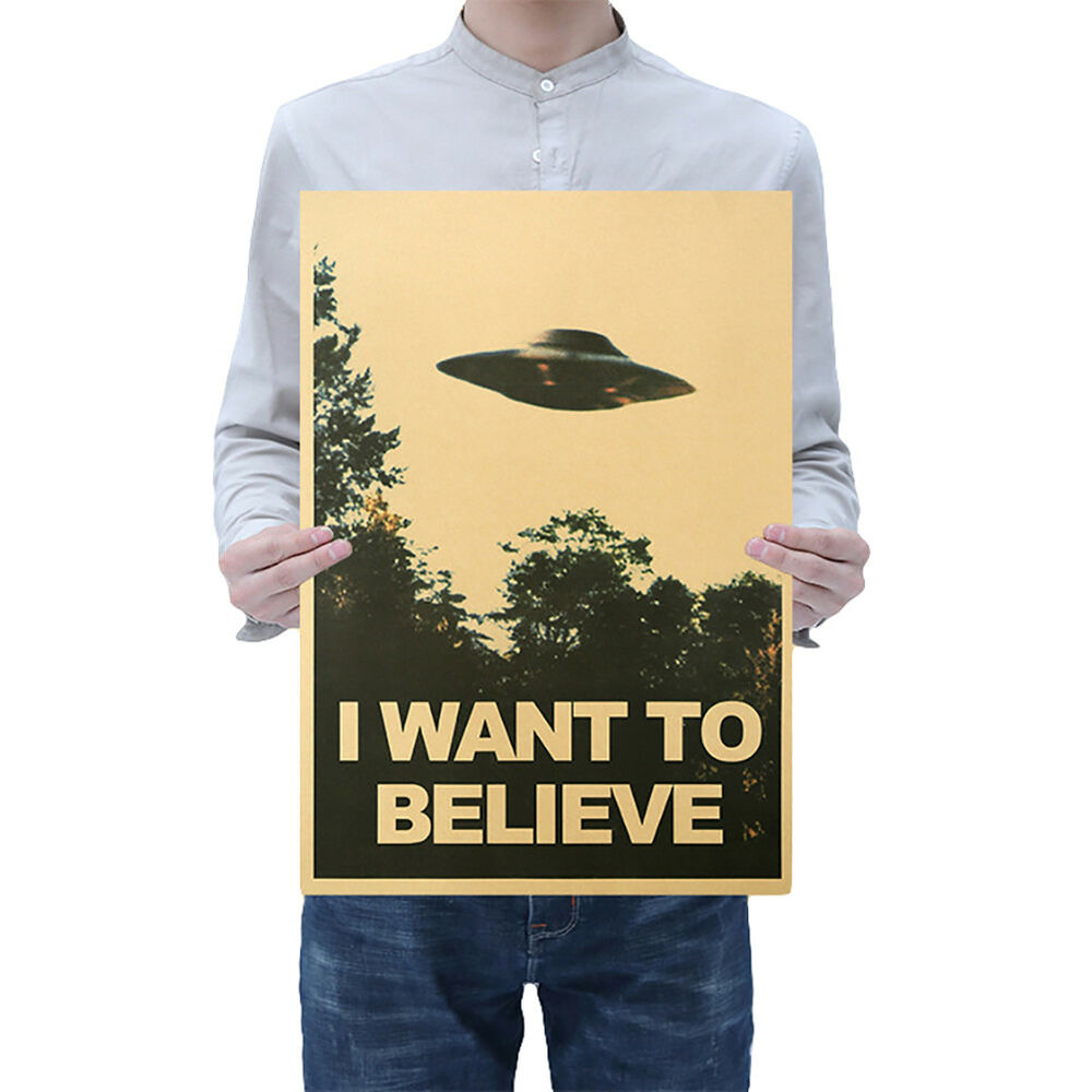 CN_ 50.5x35cm I Want To Believe Vintage UFO Painting Poster Wall Home Decor Ar 2
